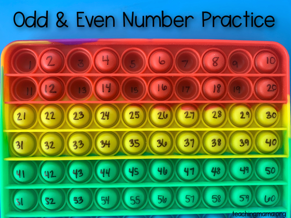 odd and even numbers with pop-it