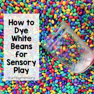 how to dye white beans for sensory play