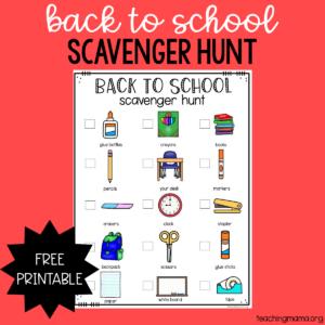 back to school scavenger hunt printable