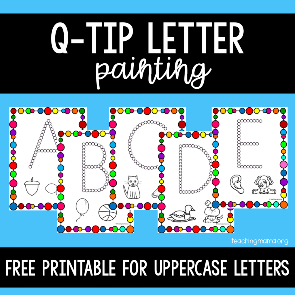 Q-Tip Letter Painting for Uppercase Letters